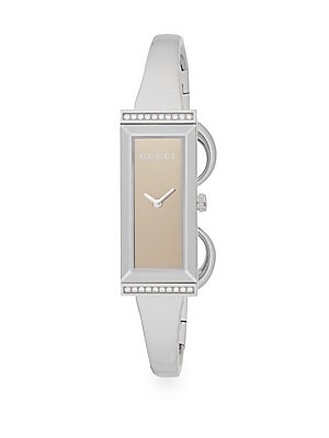 gucci female 45900 gframe diamond stainless steel rectangular watchsilver
