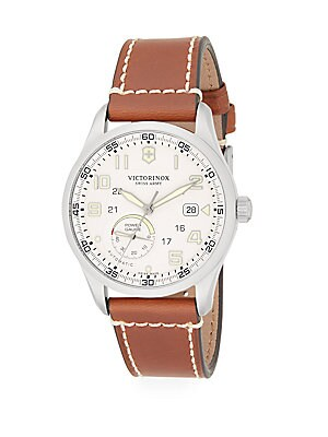 Airboss Stainless Steel Leather Band Chronograph Watch