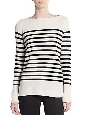 Breton-Striped Ribbed Cashmere Sweater