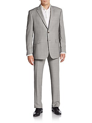 Regular-Fit Tonal Plaid Wool Suit