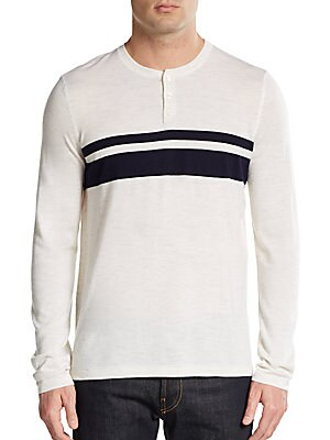 Striped Wool & Cashmere Henley Sweater