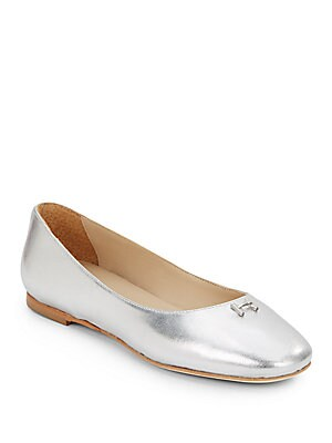 Metallic Leather Ballet Flats