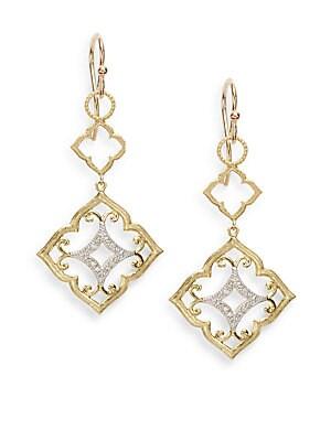 Diamond & 18K Yellow Gold Quatrefoil Drop Earrings