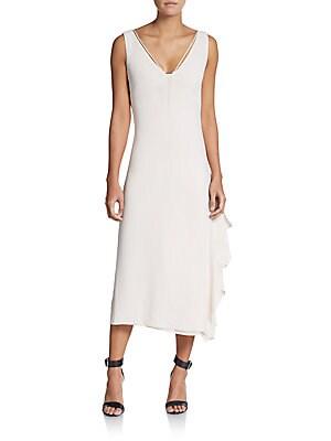 Ruffle T-Strap Shift Dress