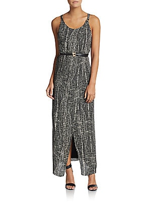 Abstract-Print Wrap Maxi Dress