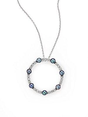 Click here for Diamond  3MM Pearl & 14K White Gold Pendant Neckla... prices