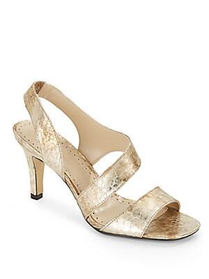 Giprisity Textured Metallic Leather Sandals