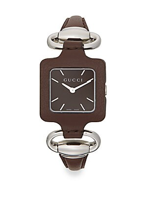 gucci female 1921 square stainless steel leather watch