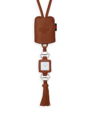 1921 Square Stainless Steel & Leather Tassel Pendant Watch