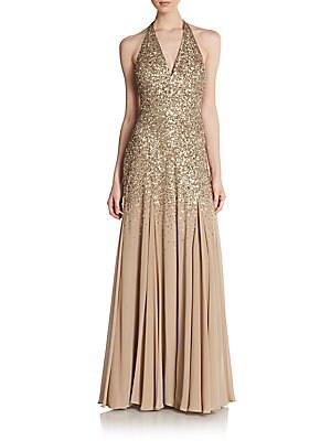 Sequin-Top Halter Gown