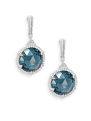 Eclipse London Blue Spinel, White Sapphire & Sterling Silver Earrings