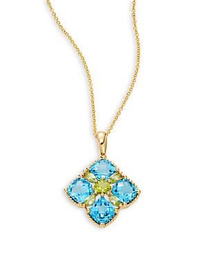 Blue Topaz, Peridot & 14K Yellow Gold Pendant Necklace