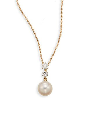 Click here for 7.5-8MM Cultured White Pearl  Diamond & 18K Yellow... prices