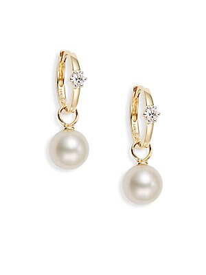 8-8.5MM Cultured White Pearl, Diamond & 18K Yellow Gold Drop Earrings