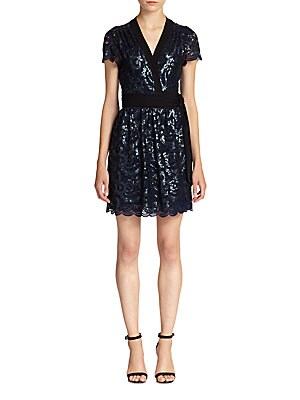 Sabina Sequined Lace Wrap Dress