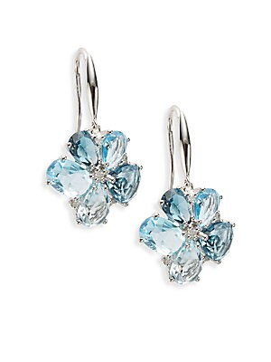 Final Call London Blue Topaz, Diamond & 14K White Gold Earrings