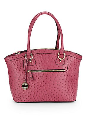 Knightsbird Ostrich-Embossed Faux Leather Tote