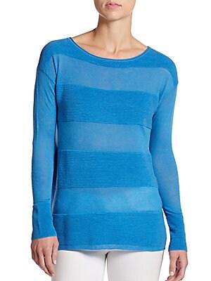 Ottoman-Knit Stripe Sweater