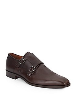 Saffiano Leather Monk-Strap Shoes