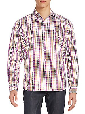 Classic-Fit Windsurf Check Cotton Sportshirt