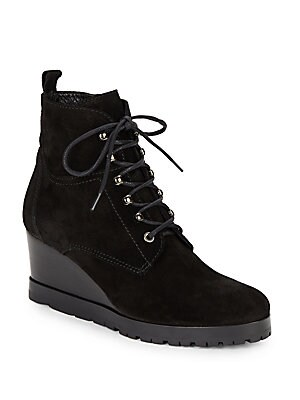 Chance Black Suede Wedge Booties