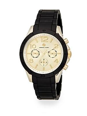 Sport Goldtone Chronograph Black Bracelet Watch