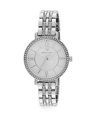 Pavé Bezel Silvertone Bracelet Watch
