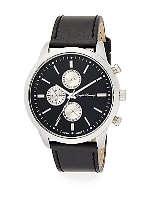 Stainless Steel Chronograph Black Leather Strap Watch