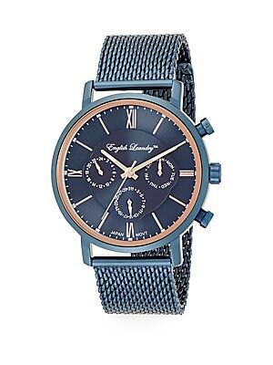 Navy Stainless Steel Mesh Bracelet Watch