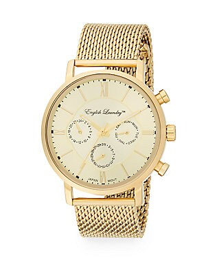 Goldtone Stainless Steel Chronograph Mesh Bracelet Watch
