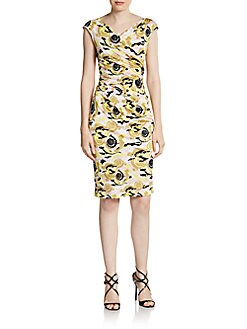 Baroque Print Ruched Sheath Dress