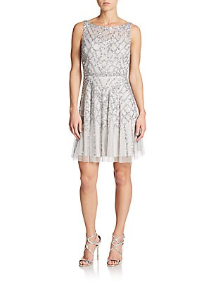 Sequined Illusion Top Chiffon Dress