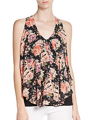 Draped Front Floral-Print Top