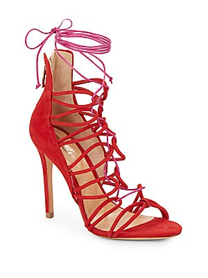 Fiorenza Lace-Up Suede Sandals
