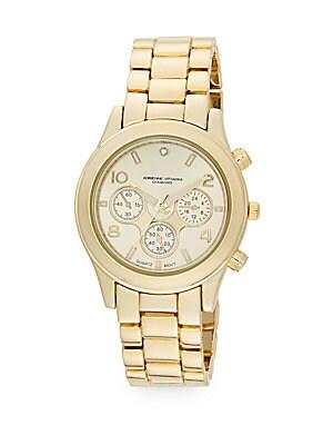 Diamond Goldtone Chronograph Bracelet Watch