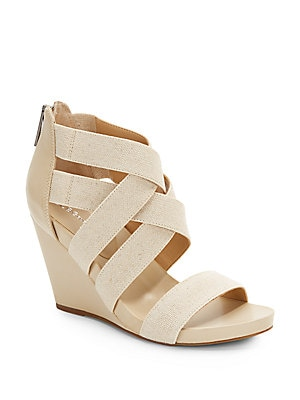 bcbg max azria female bruce faux leather canvas wedge sandals