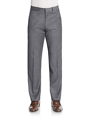 Wool Broken-Plaid Pants