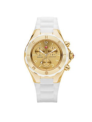 Silicone & Goldtone Stainless Steel Chronograph Watch/White