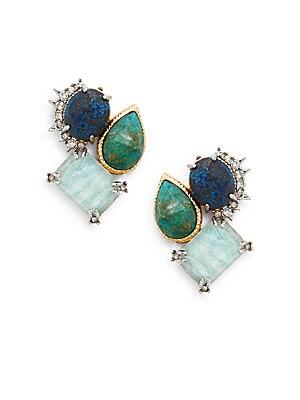 Elements Chrysocolla, Amazonite Doublet & Crystal Earrings