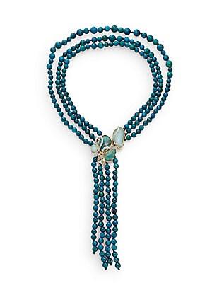 Elements Chrysocolla, Amazonite & Swarovski Crystal Reversible Necklace/Two-Tone