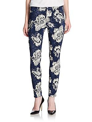 Floral Jacquard Ankle Skinny Jeans