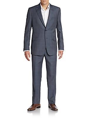 Slim-Fit Windowpane Check Wool Suit
