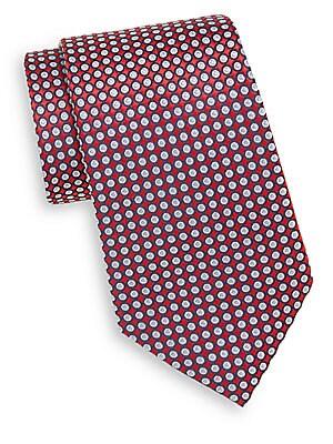 Circle-Print Silk Tie
