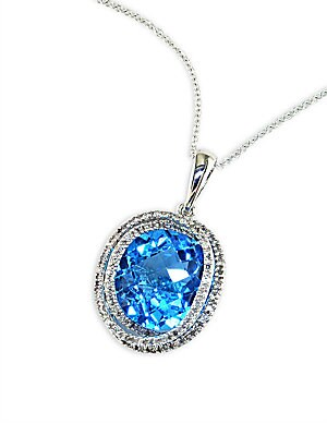 Click here for 14 Kt. White Gold Diamond-Pave Blue Topaz Pendant... prices