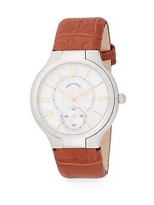 Round Stainless Steel Tan Calf Leather Strap Watch