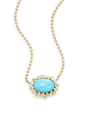 Dew Drop Turquoise & 14K Yellow Gold Pendant Necklace