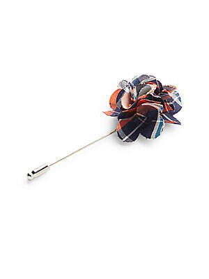 Beaver Plaid-Print Flower Lapel Pin