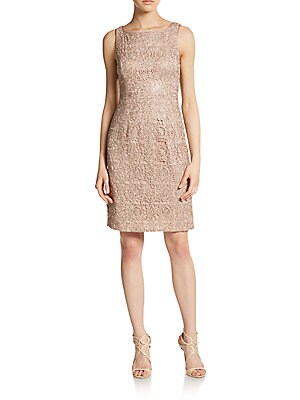 Sequined Metallic Lace Dress