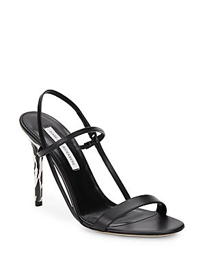 Ulla Zebra-Print Heel Leather Sandals