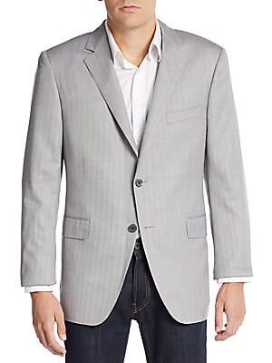 Regular-Fit Herringbone Wool & Silk Sportcoat